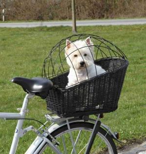 Trixie Fahrrad Korb aus Weide, schwarz, 2.Wahl ohne Gitter, Gepäckträger, Hunde