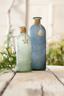 """2 Deko Vasen """" Maritim"""" aus Glas, blau & grün, Tisch Blumen Flasche Set"""