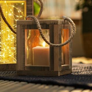 Windlicht Laterne Shabby aus Holz & Glas 17 cm hoch, Deko Retro Teelicht Halter