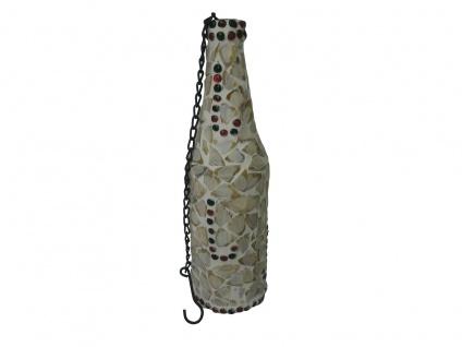"""2x Gilde Deko Flasche """" Muschel"""", Glas Mosaik, Teelicht Hänger Ständer Halter"""