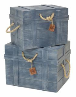 2 er Set Universal Truhe aus Holz, blau, Aufbewahrung Kiste Koffer Box Korb