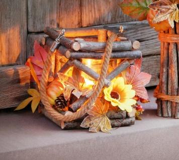 """Laterne """" Herbstzeit"""" aus Holz mit Glas Windlicht, Kürbis, Blüten, Blätter"""