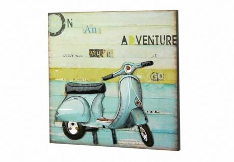 3D Wandbild aus Holz & Metall, Roller Vespa, Wand Deko Bild Poster