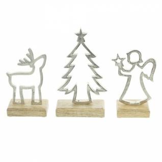 3er Set Winterdeko 'Mangoholz? Holz Deko Figur Weihnachten Engel Tanne Elch - Vorschau 4