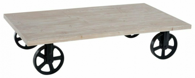 J-Line Couch Tisch aus Holz, mit Metall Rädern, schwarz, Industrial Style, Sofa
