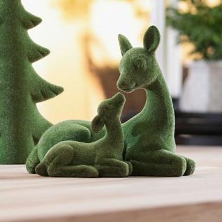 """Figur """" Reh mit Kitz"""" in Moos Optik, grün, Herbst Winter Tier Deko Statue"""