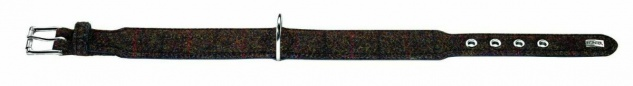 "Hunter Stoff + Leder Hunde Halsband "" Tweed"" braun schwarz 24 - 28, 5 cm Halsung"