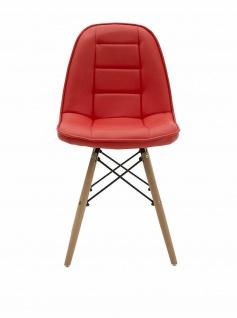 THE LOFT 2er Set Designer Stühle, PU Leder rot, Schalen Küchen Esszimmer Stuhl