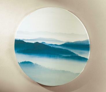 """Wand Bild Hänger """" Morgennebel"""", rund, Berge & Wolken Landschaft auf Leinwand"""