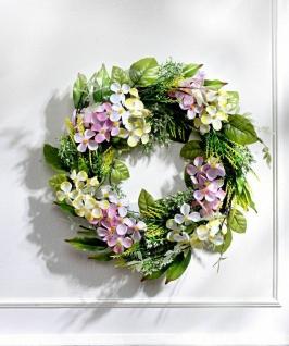 Deko Kranz aus Rattan mit Hortensie Blüten, Ø 28 cm, Kunst Blumen Wand Tisch Tür