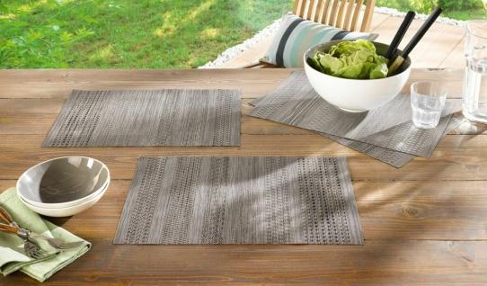 4er Set Platzmatte Leinen Optik, grau, 45x30 cm, Platz Set Decke Tisch Deckchen