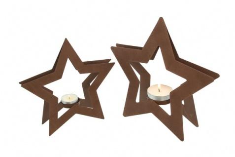 2er Teelicht Halter 'Sternchen? Metall Kerzen Ständer Windlicht Weihnachten - Vorschau 4