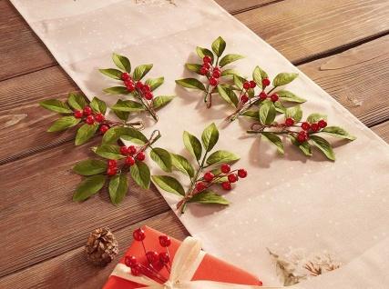 37 tlg Deko Set, 30 rote Beeren + 7 grüne Zweige, Tisch Platz Hänge Dekoration