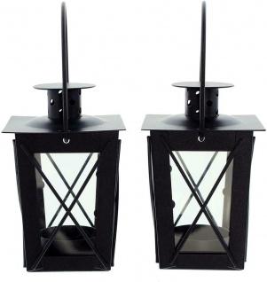 2er Set Mini Laternen aus Metall + Glas, schwarz, Teelicht Halter Windlicht - Vorschau 4
