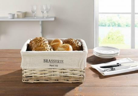 """Brotkorb """" Brasserie"""" aus Weide, mit Stoff Einlage, Frühstücks Brötchen Füll Korb"""