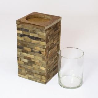 Windlicht 'trend-look' Klein Aus Holz Mit Glas Einsatz Kerzen Teelicht Halter - Vorschau 3