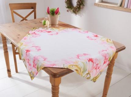 Tischdecke 'Tulpentraum? 85x85 Tisch Tafel Läufer Band Tuch Decke Deko