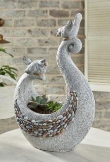 """Design Pflanz Schale """" Vogelpaar"""" grau, Stein Optik Garten Deko Blumen Topf Kübel"""