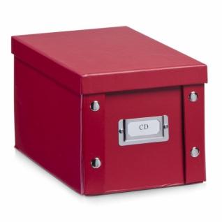 2x ZELLER CD BOX mit DECKEL rot für 20 CD's AUFBEWAHRUNG KISTE KARTON CASE