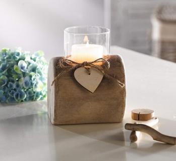 """Windlicht """" Herzdeko"""" aus Treibholz & Glas, Holz Kerzen Teelicht Ständer Halter"""