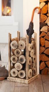 """Design Schirmständer """" Wood"""" aus Holz, geflammt, Regen Schirm Ständer Halter"""