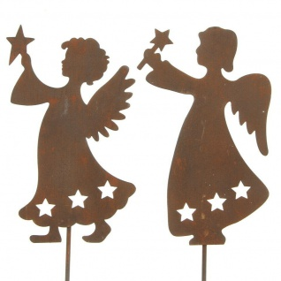 "2er Garten Stecker ?Sternenengel"" aus Metall Blumen Deko Herbst Engel Beet"