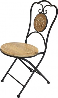 Gartenstuhl aus Metall & Holz im Antik Design, Balkon Klapp Stuhl - Vorschau 2