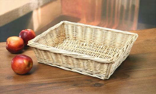 Obst / Brot Korb aus Weide, natur weiß, Kosmetik Aufbewahrungs Schale Körbchen