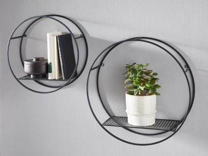 """2er Set Wand Regal """" Circle"""" aus Metall, schwarz, Deko Hänger Küche Büro Garten"""