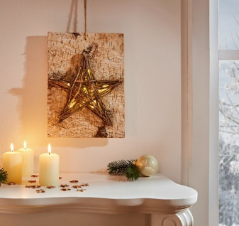 """LED Deko """" Stern"""" aus Holz & Äste Leucht Wand Bild, Advents Weihnachts beleuchtet"""