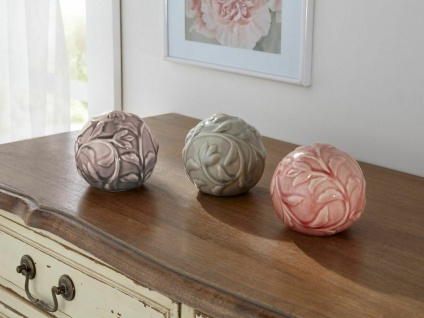 3er Set Deko Kugeln aus Keramik, lasiert, Floral Design, Ø 10 cm, Rosen Kugel