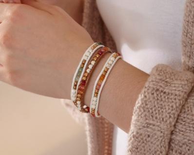 3er Set Armband 'Light? Damen Schmuck Steine Perlen Armkette Häkelband