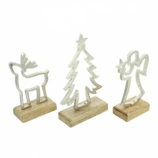 3er Set Winterdeko 'Mangoholz? Holz Deko Figur Weihnachten Engel Tanne Elch - Vorschau 3