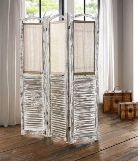 """Holz Paravent """" Shabby"""" weiß Raumteiler Spanische Trenn Wand Sichtschutz Umkleide"""