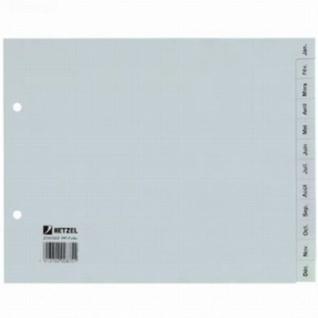 100x HETZEL Kunststoff Register Januar - Dezember, 12 Monate, halbe Höhe, grau