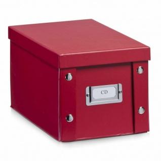 2x Zeller CD Box mit Deckel, rot, für 20 CD's, Aufbewahrung Kiste Karton Case