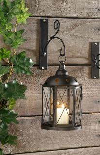 Laterne aus Metall & Glas, Antik-Design, Garten Wand Kerzen Halter Windlicht