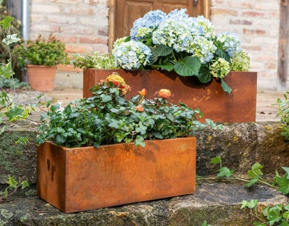 2x Pflanz Kasten aus Metall, Rost Design, Balkon Garten Blumen Schale Topf Kübel