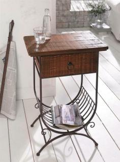 Beistell Tisch aus Holz & Metall mit Schublade & Ablage, Antik Design, Telefon