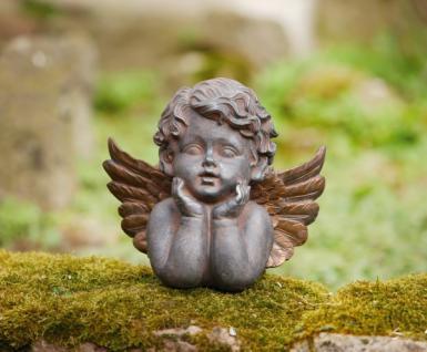 ENGEL BÜSTE 'Bronzeflügel? aus POLYRESIN Antik-Look DEKO FIGUR SKULPTUR STATUE