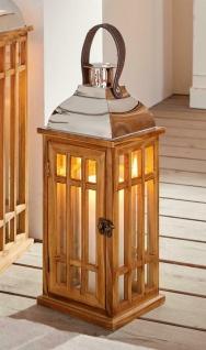 """Laterne """" Wood"""" 40 cm hoch Retro Windlicht aus Holz mit Glas, Henkel & Metalldach"""