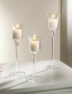 3 Kerzenhalter aus Glas, Teelicht Ständer Windlicht Halter Kelch Leuchter Set