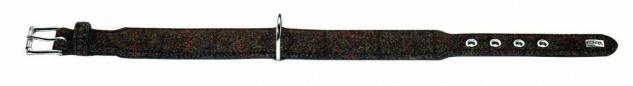"Hunter Stoff + Leder Hunde Halsband "" Tweed"" braun schwarz 30 - 34, 5 cm Halsung"
