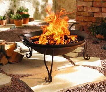 Feuer Schale aus Metall in Rost-Optik, Garten Terrassen Grill Korb Ofen Stelle