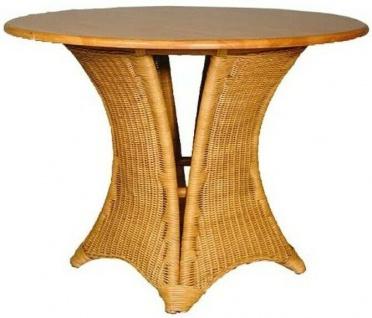 Tisch aus Rattan & Gummibaum Holz massiv ø 100 x 70 cm, Bistro Küchen Ess Zimmer