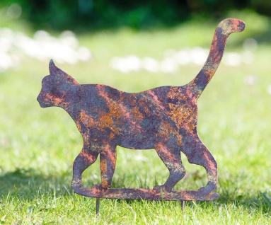 """Garten Stecker """" Katze"""" aus Metall mit Patina, Garten Deko Sticker Vogelschreck"""