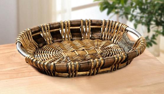 große Schale aus Weide, dunkel braun, Obst Deko Brot Servier Buffet Gebäck Korb