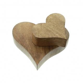 2 Herzen aus Mango Holz, Tisch Deko Figur Herz Skulptur Objekt Set - Vorschau 3