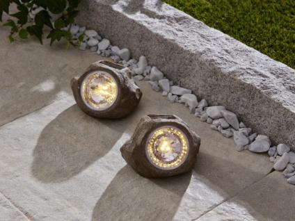 2er Set Solar Stein 'Spot? Garten Deko LED Aussen Lampe Strahler Licht