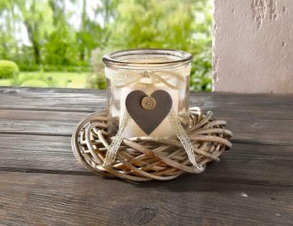2tlg. Glas Windlicht mit Weiden Kranz, Tisch Kerzen Ständer Halter Natur Kranz